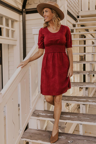 Red Embroidered Dress | ROOLEE