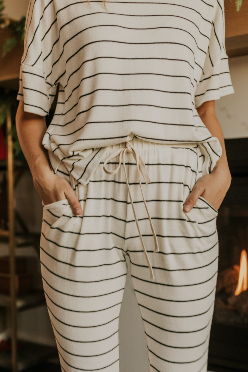 White and Black Stripe Top for Pajamas | ROOLEE