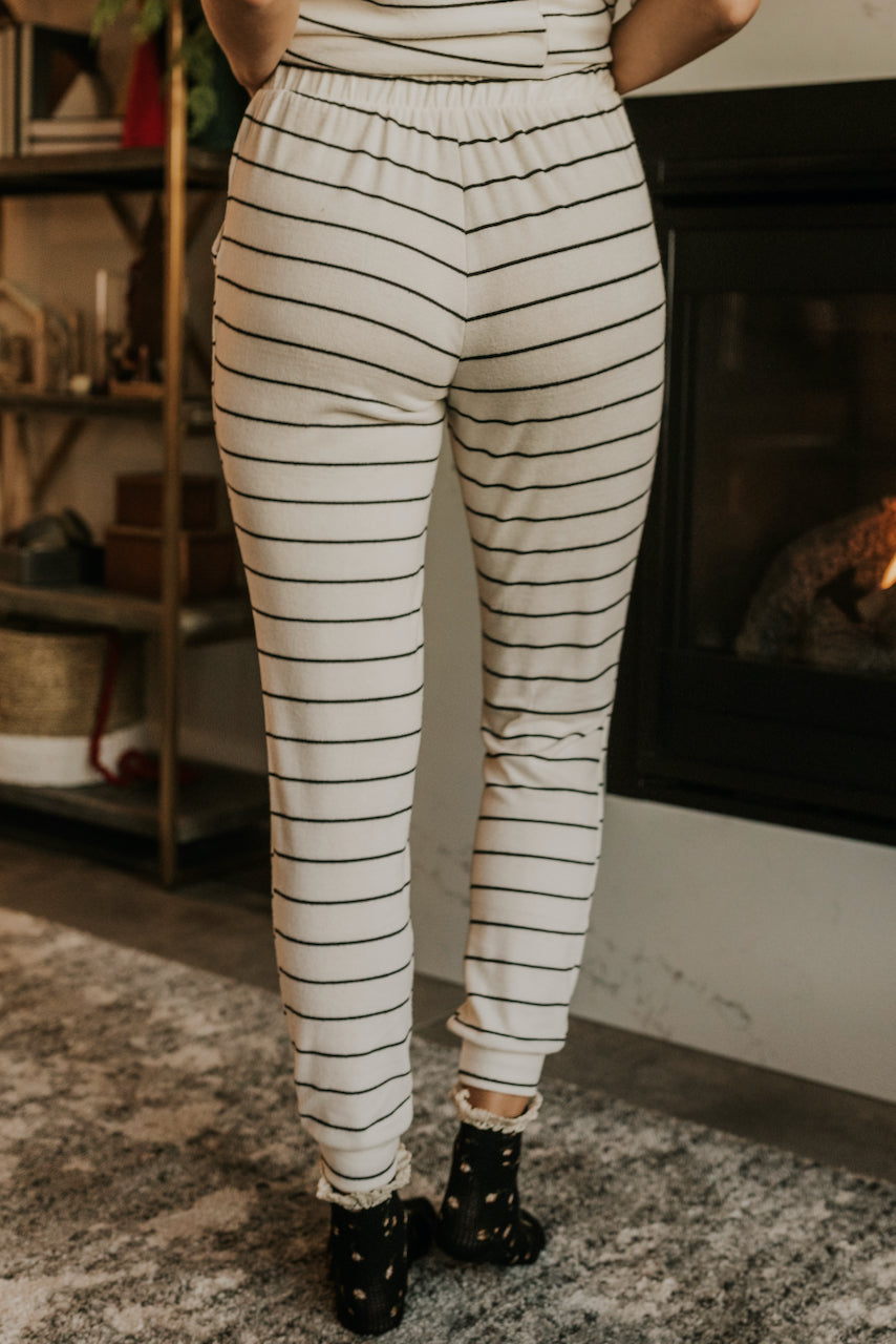White Pajama Bottoms with Stripes | ROOLEE