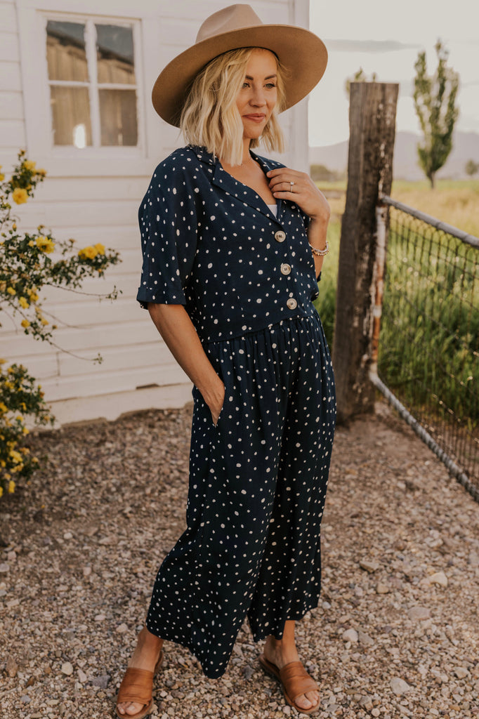 Button Front Polka Dot Blouse | ROOLEE