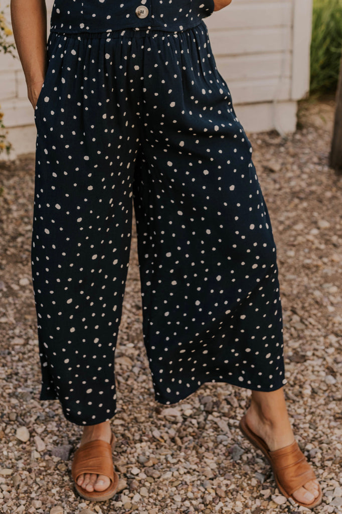 Navy Dotted Pants | ROOLEE