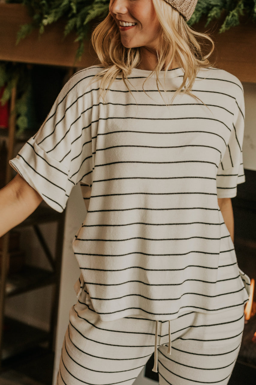 White and Black Stripe Pajama Tops for Christmas Pajamas | ROOLEE