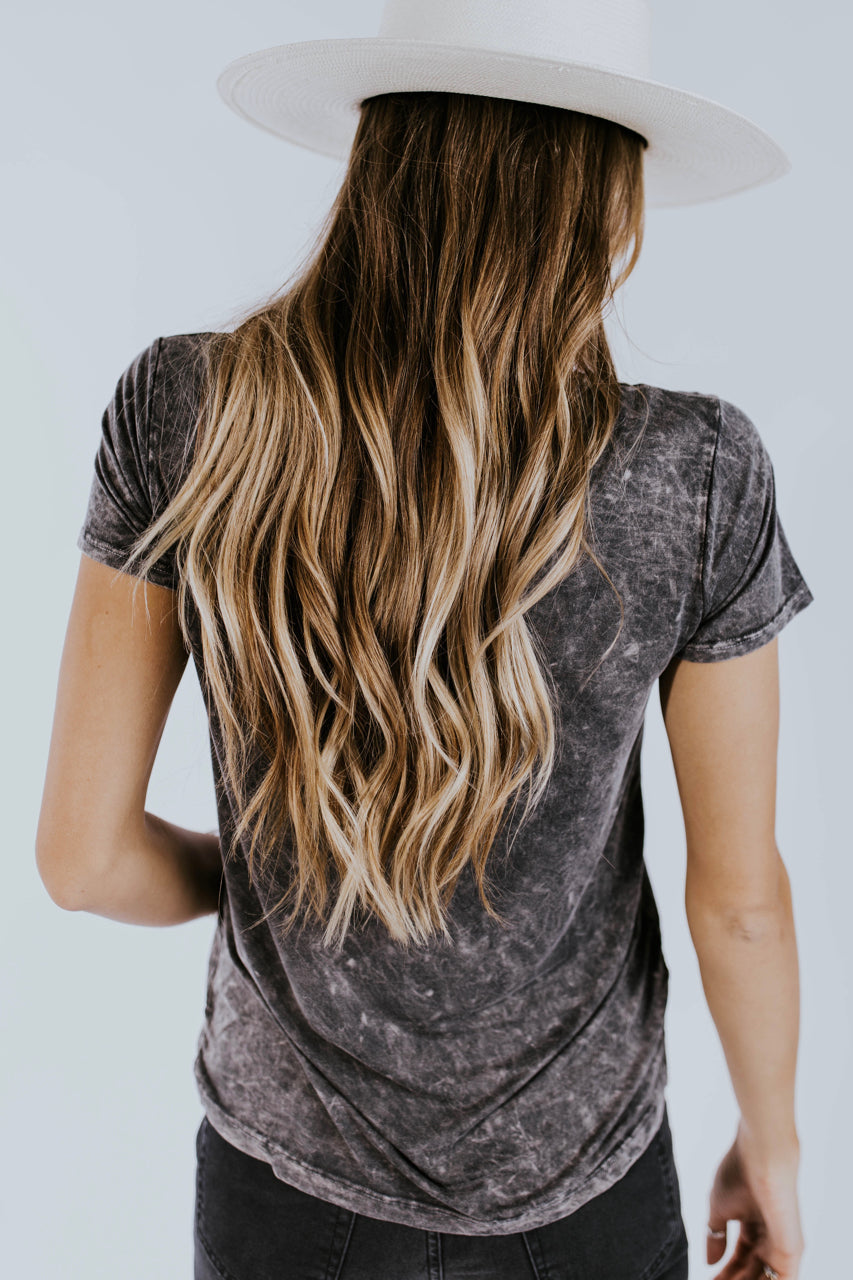 Rae Distressed Tee in Charcoal | ROOLEE