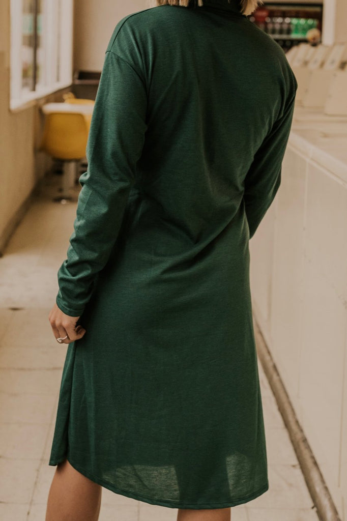 Forest Green Waist Tie Dress | ROOLEE