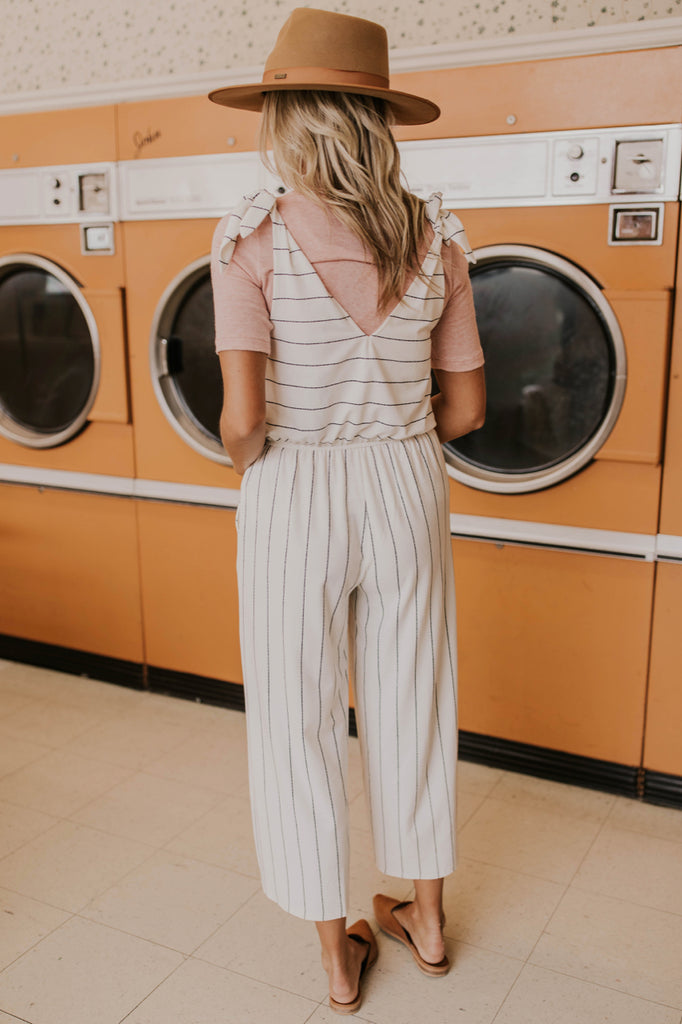 Cute Ivory and Black Pinstripe Jumpsuit | ROOLEE Jumpsuit