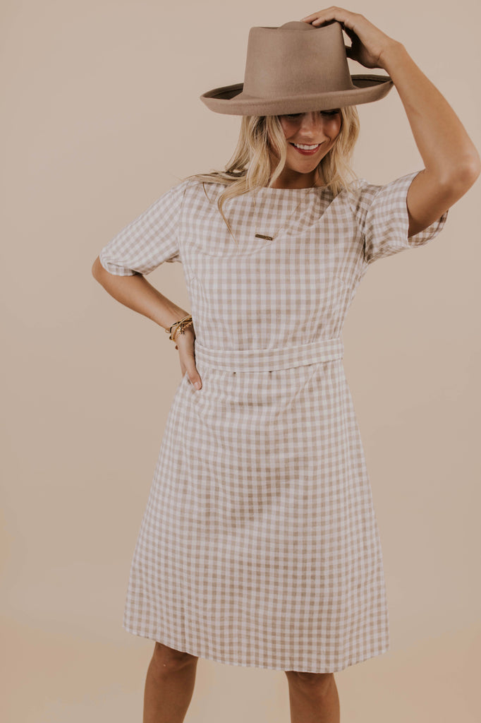 Checkered A Line Dress | ROOLEE