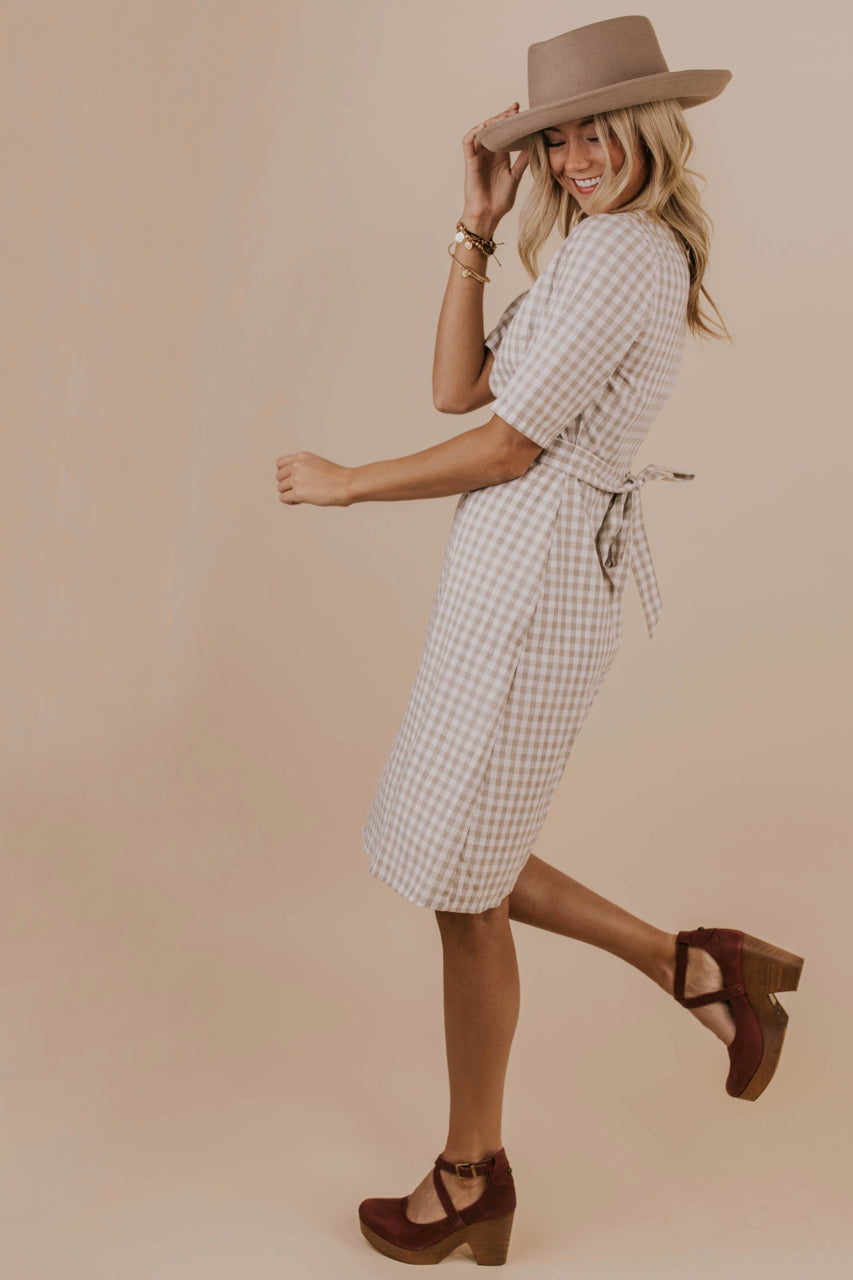 Taupe Checkered Dress | ROOLEE