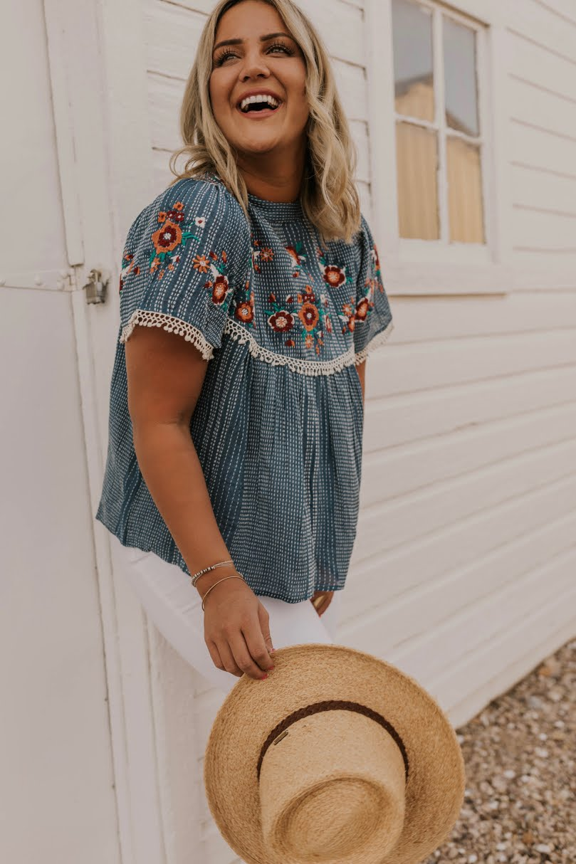 Embroidered Mock Mock Neck Top | ROOLEE