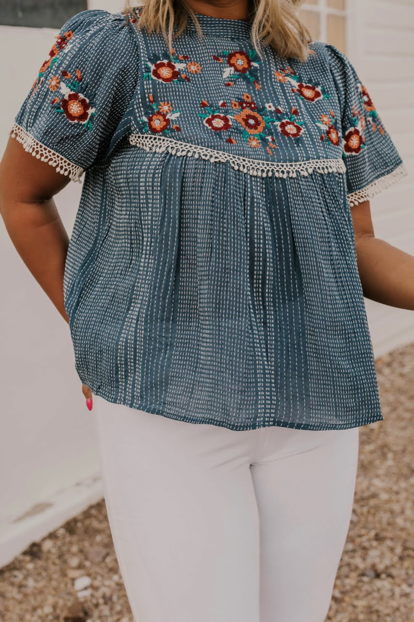 Floral Embroidered Top | ROOLEE