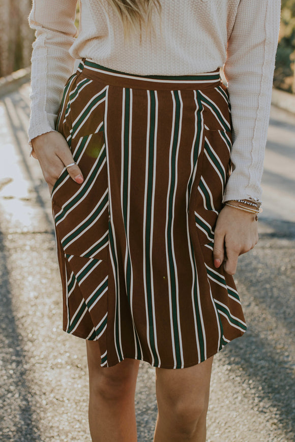 Geneva Stripe Skirt in Brown | ROOLEE