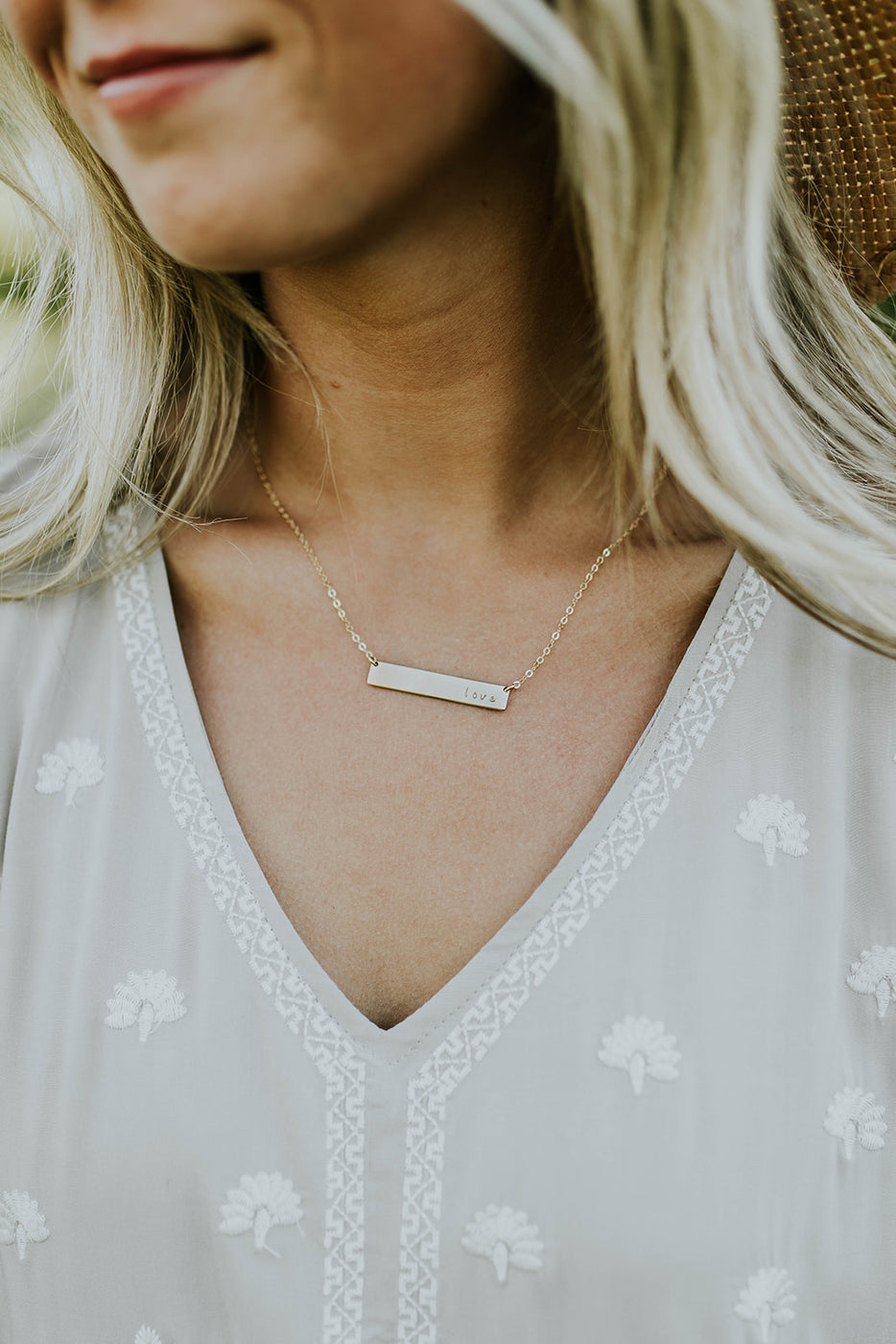 Love Gold Minimalist Bar Necklace | ROOLEE