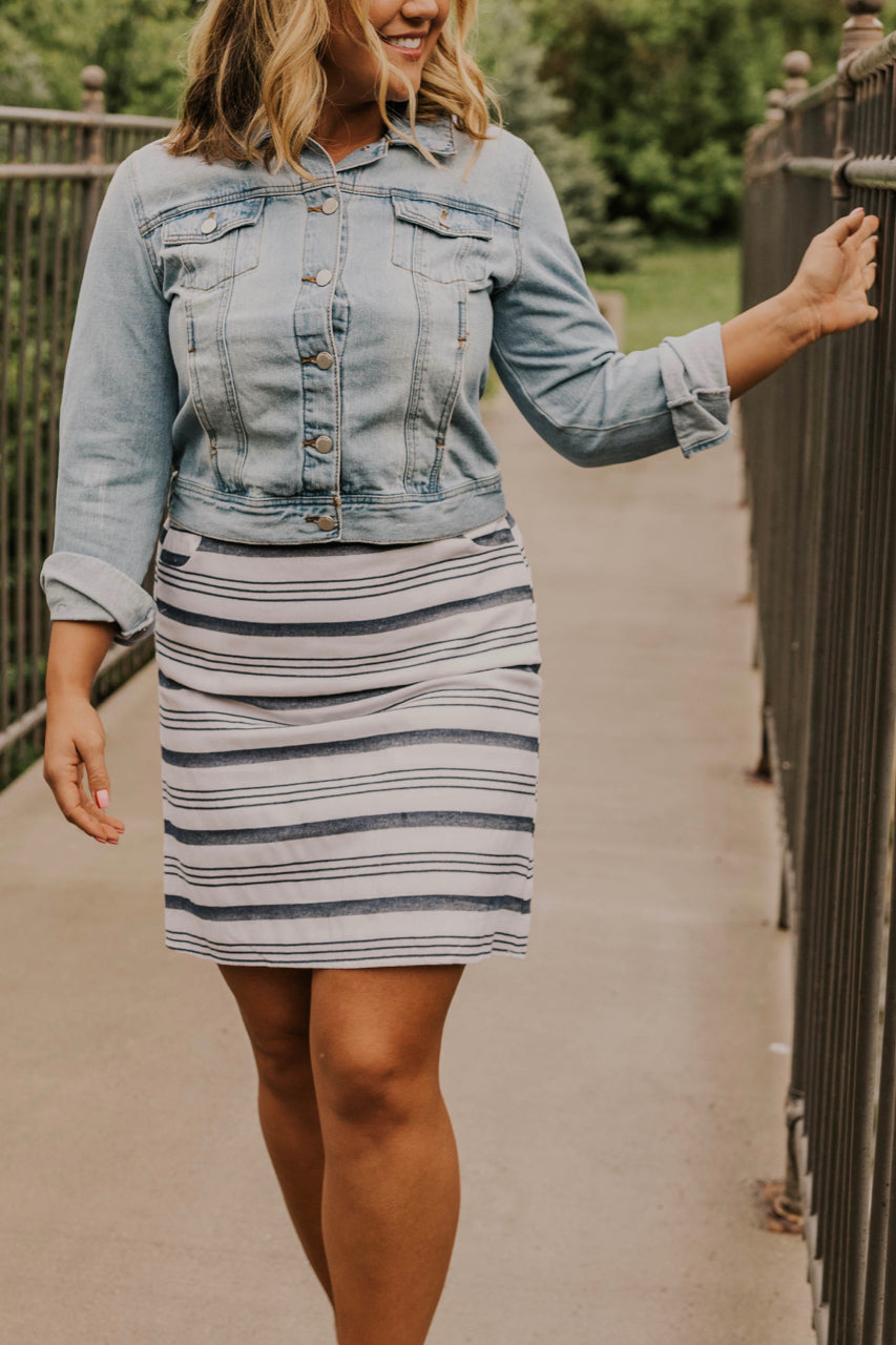 Navy and White Striped Mini Skirt | ROOLEE