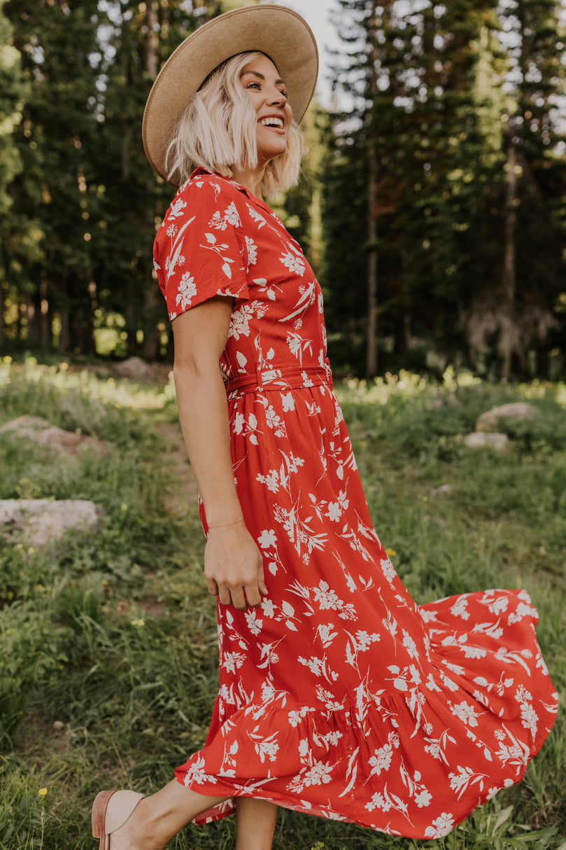 Red Ruffle Maxi Dress | ROOLEE