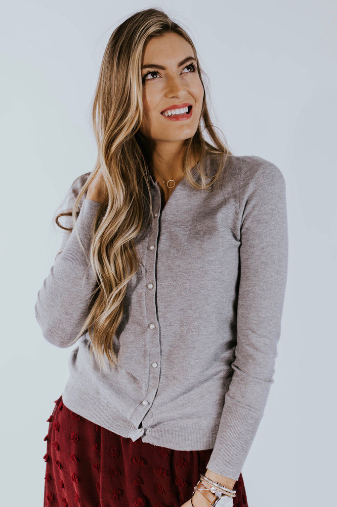 Knit Cardigan with Pearl Detail | ROOLEE