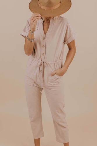 Cute Natural Button Jumpsuit | ROOLEE