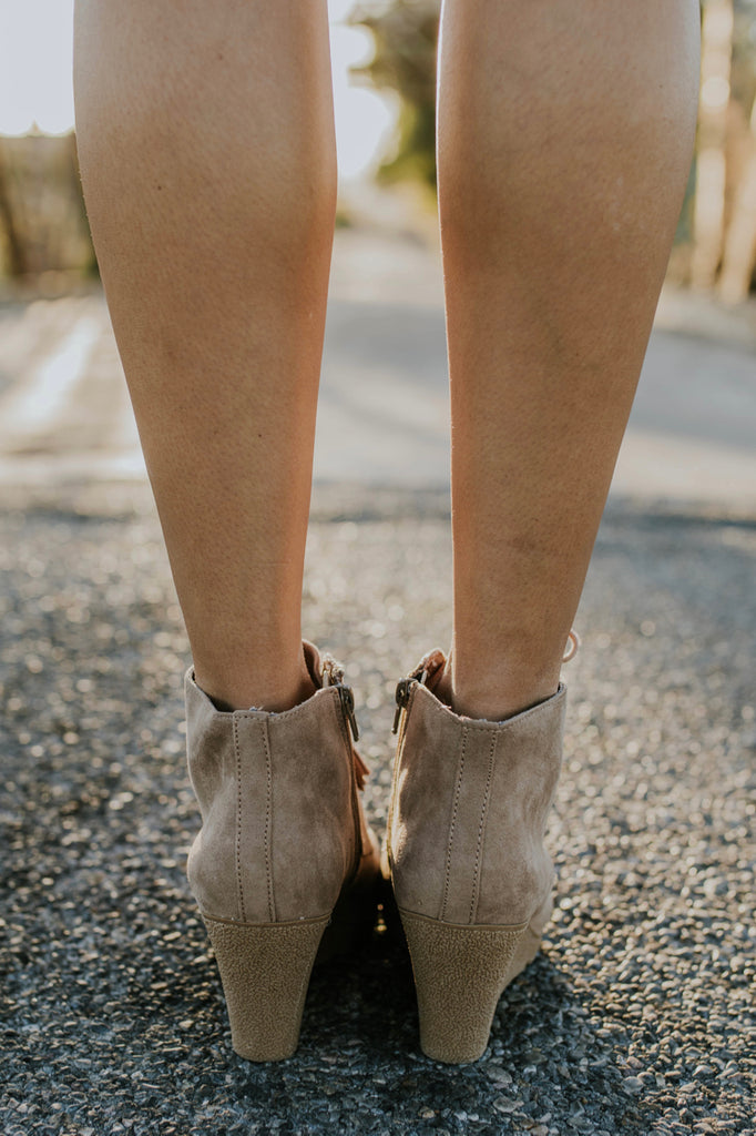 Faux Suede Booties in Taupe | ROOLEE