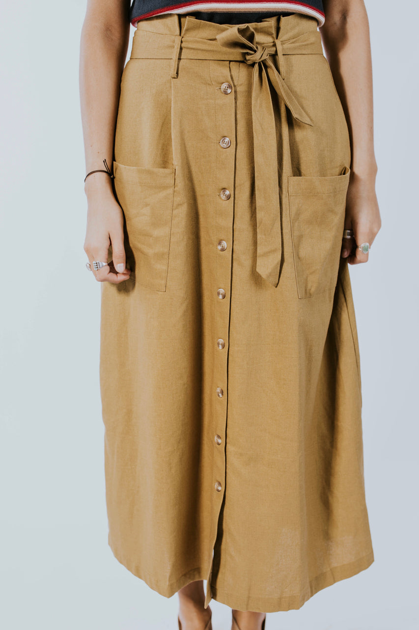 Paper Bag Midi Skirt for Fall | ROOLEE