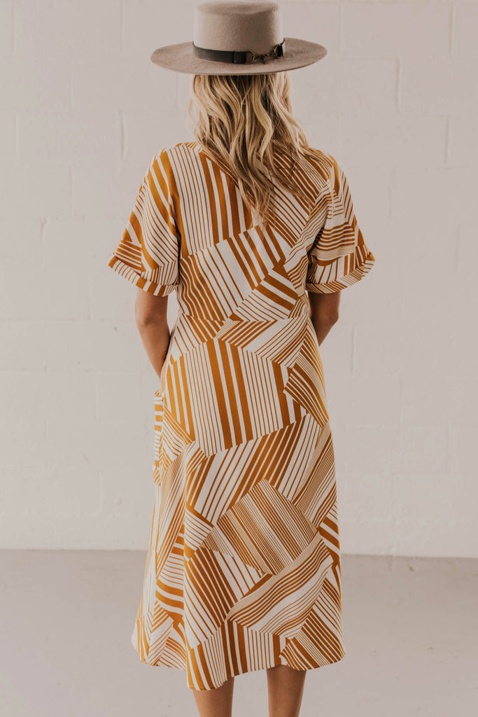 Mustard Print Dress | ROOLEE
