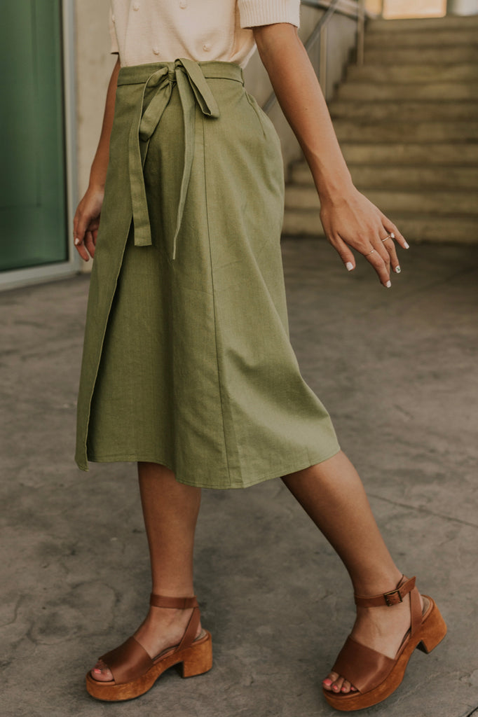 Green Wrap Skirt | ROOLEE