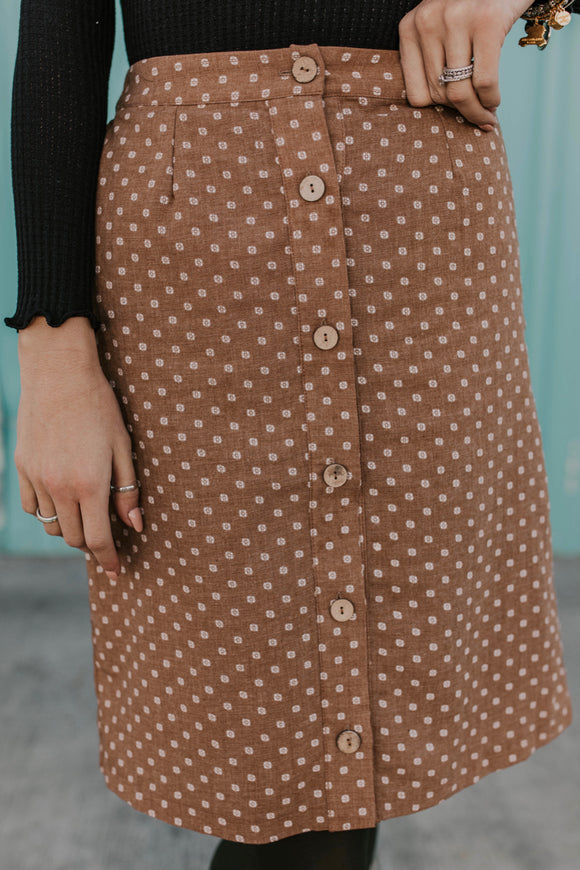 Broadway Button Skirt | ROOLEE