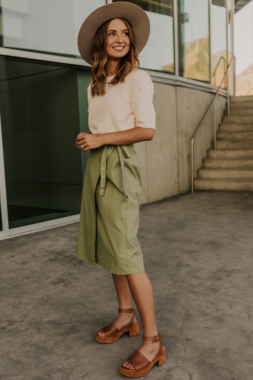 Light Green Women's Midi Skirt | ROOLEE