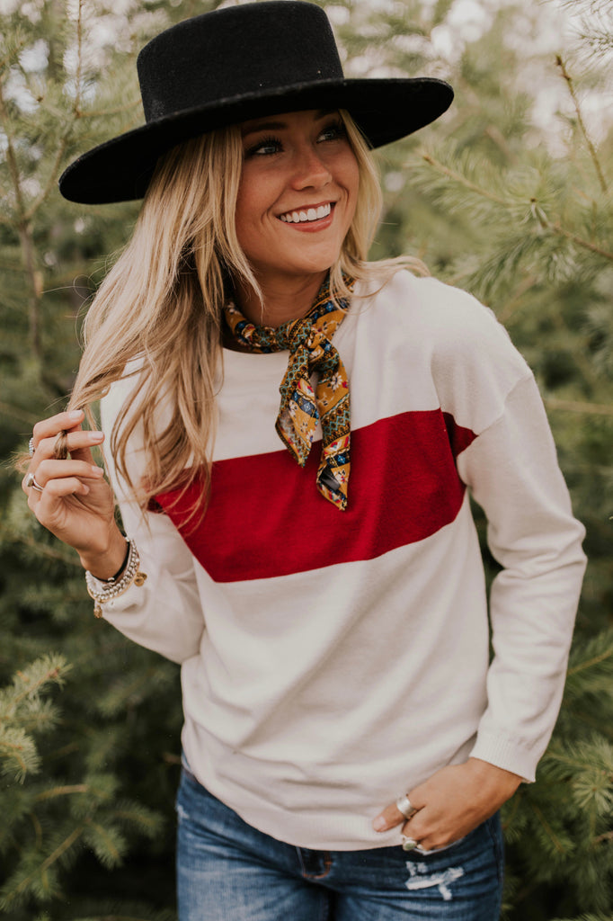 Retro Sweater with Chest Stripe | ROOLEE