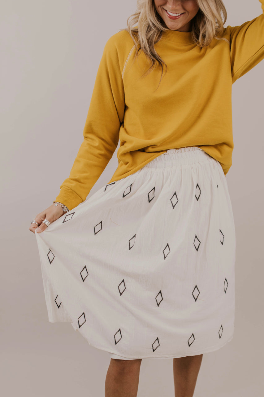 Diamond Embroidered Skirt Outfit Ideas | ROOLEE