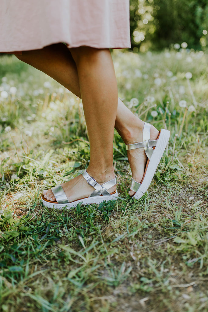 Metallic Grey Strappy Sandal Shoes | ROOLEE