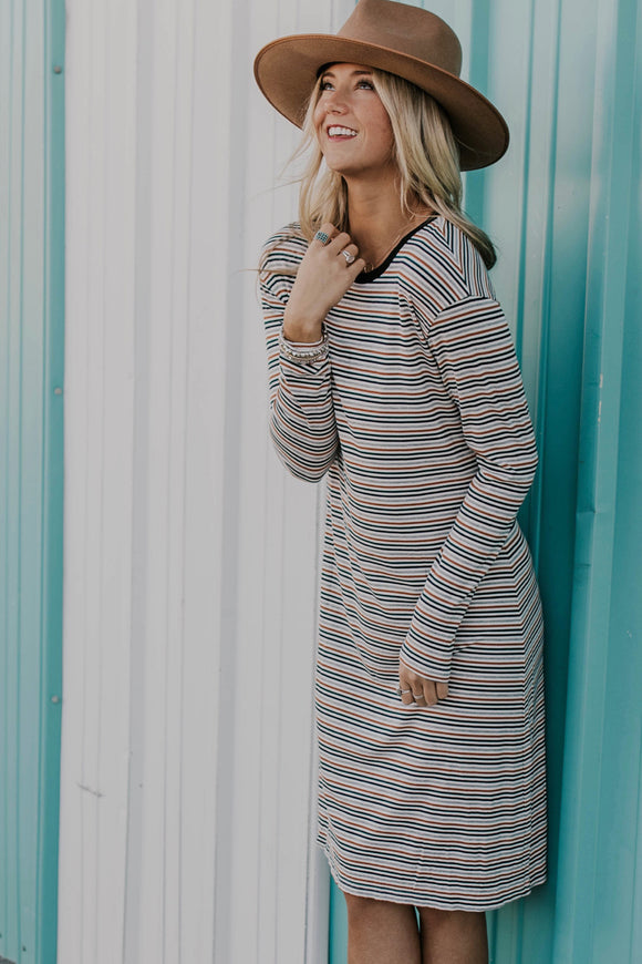 Stripe Long Sleeve Dress | ROOLEE