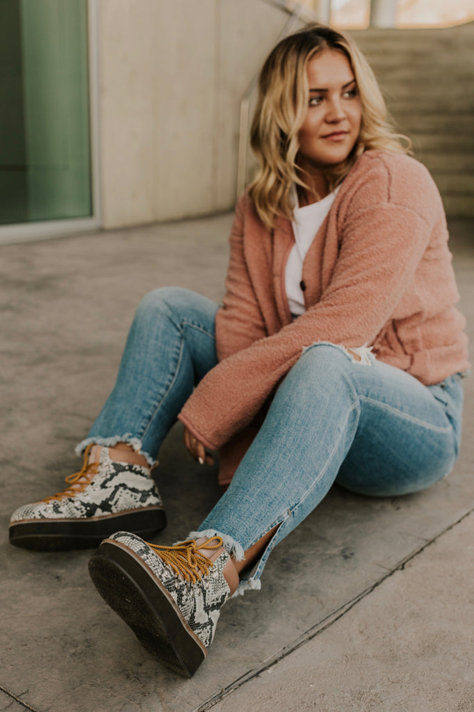Lace Up Snake Print Boots | ROOLEE
