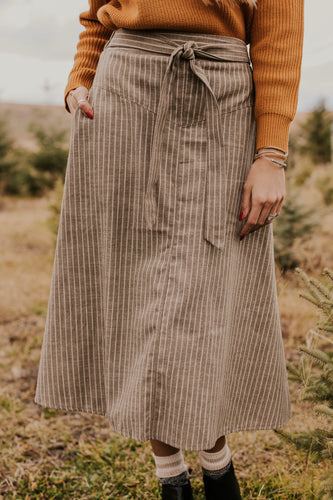 Striped Woven Skirt with Waist Tie | ROOLEE