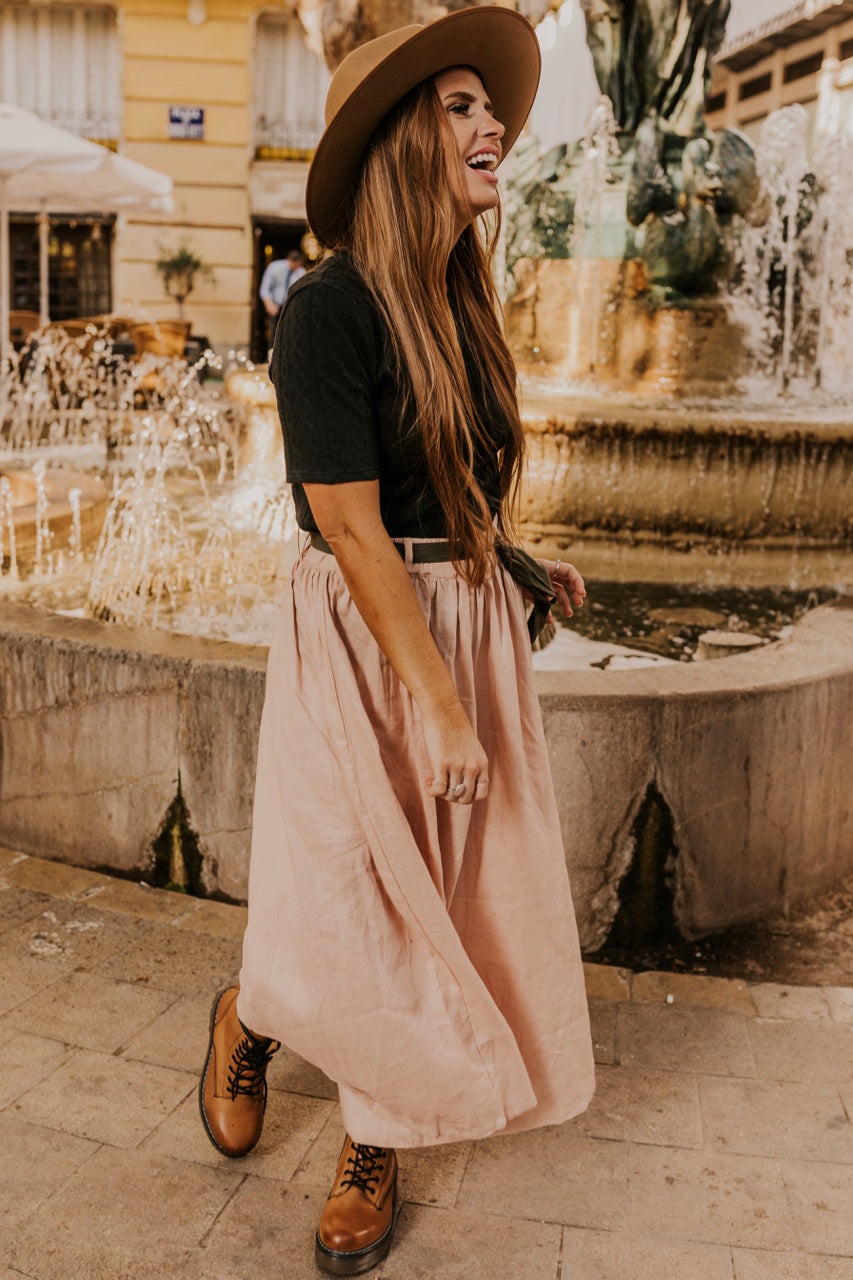 Wide Leg Pants in Blush | ROOLEE