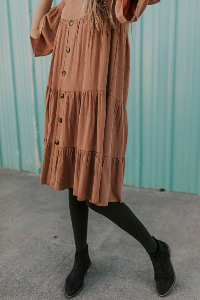 Brown Button Boho Dress | ROOLEE