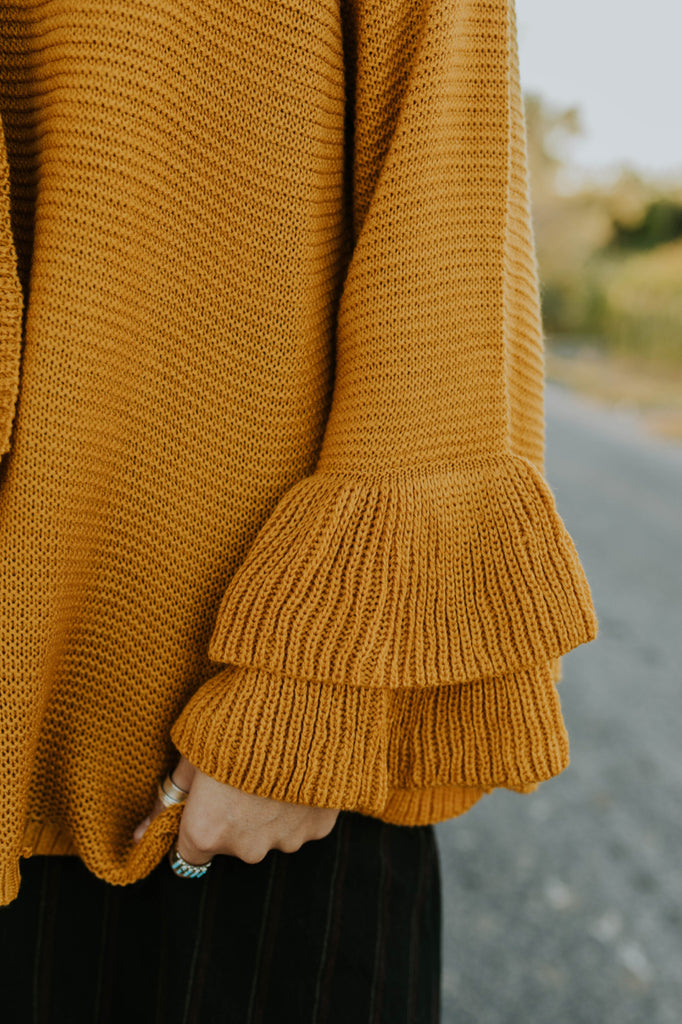 Long Ruffle Sleeve Knit Sweater Outfit | ROOLEE