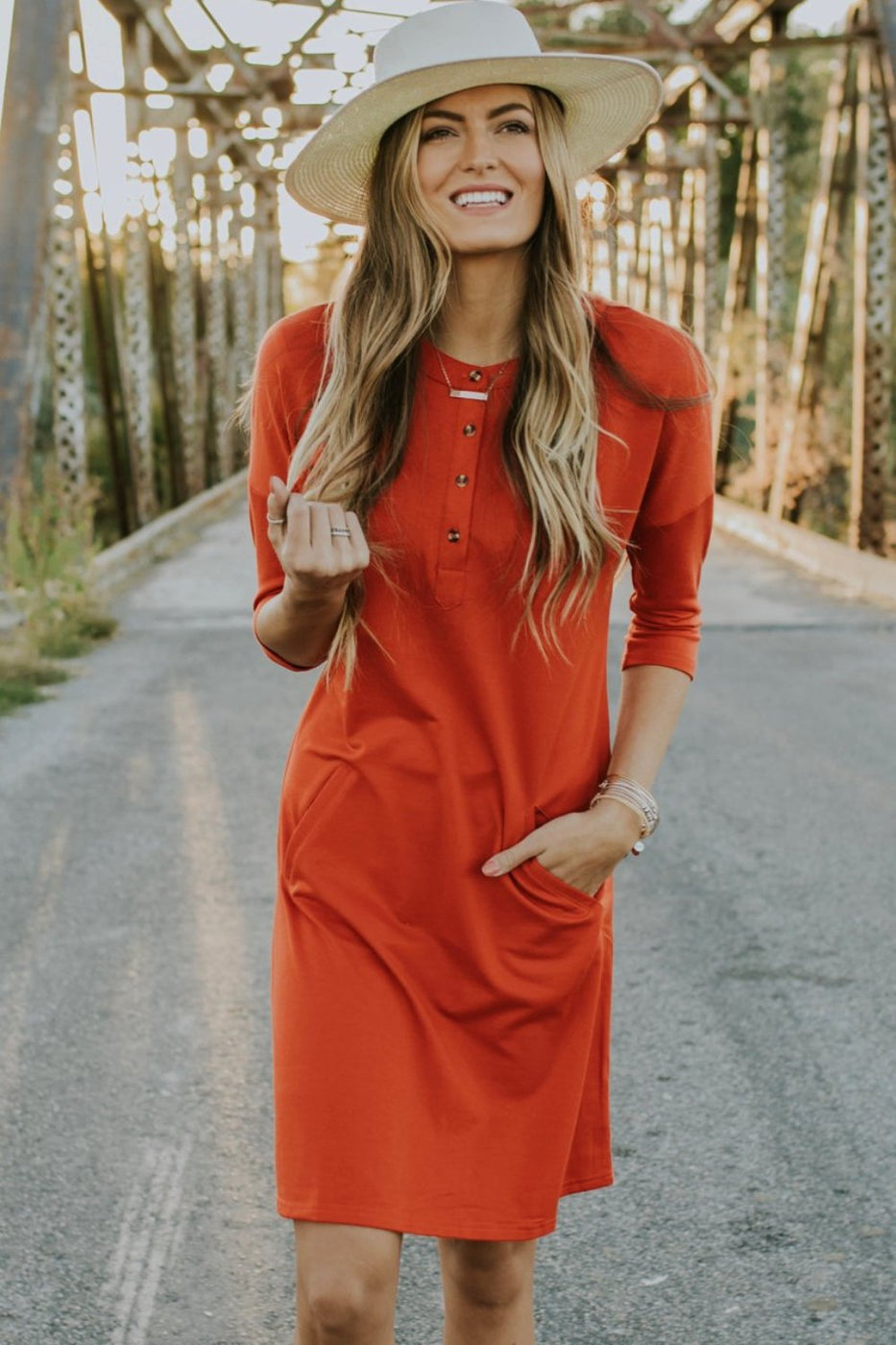 Red Pocket Dress for Women | ROOLEE