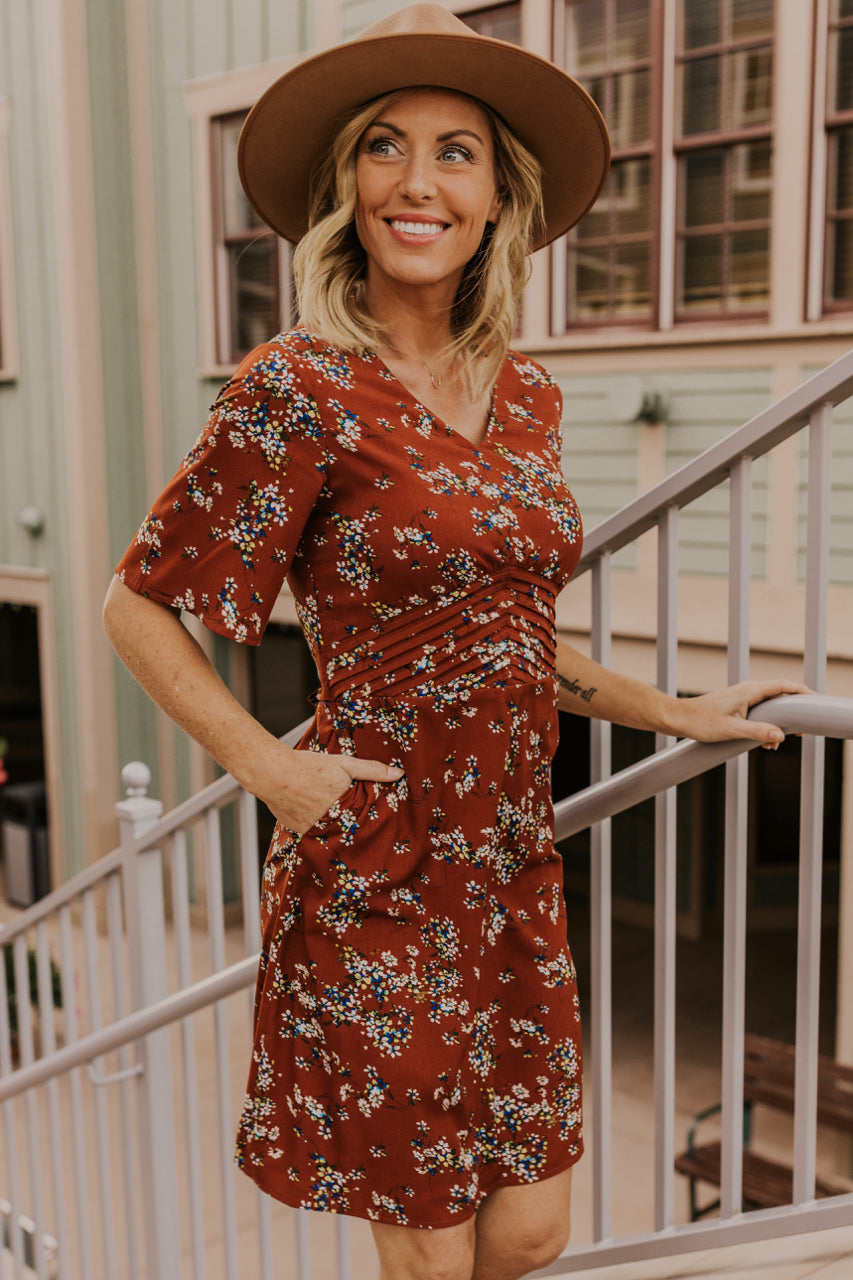 Rust Floral Dress | ROOLEE