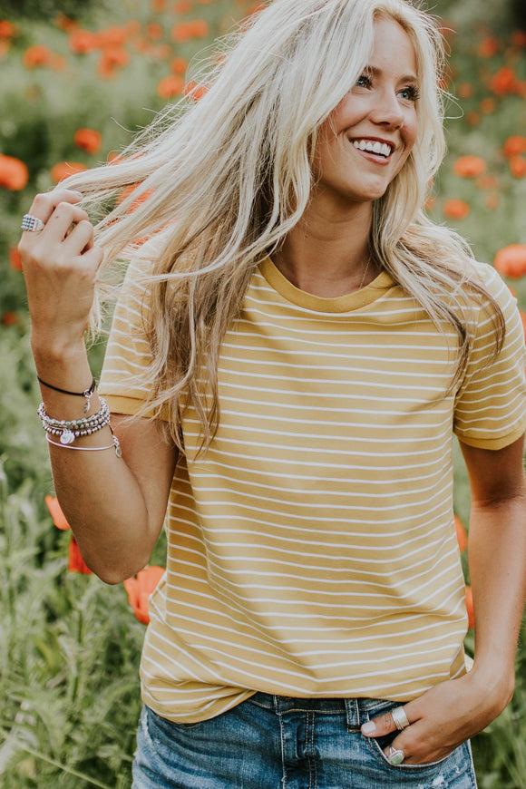 Savannah Stripe Tee in Gold | ROOLEE