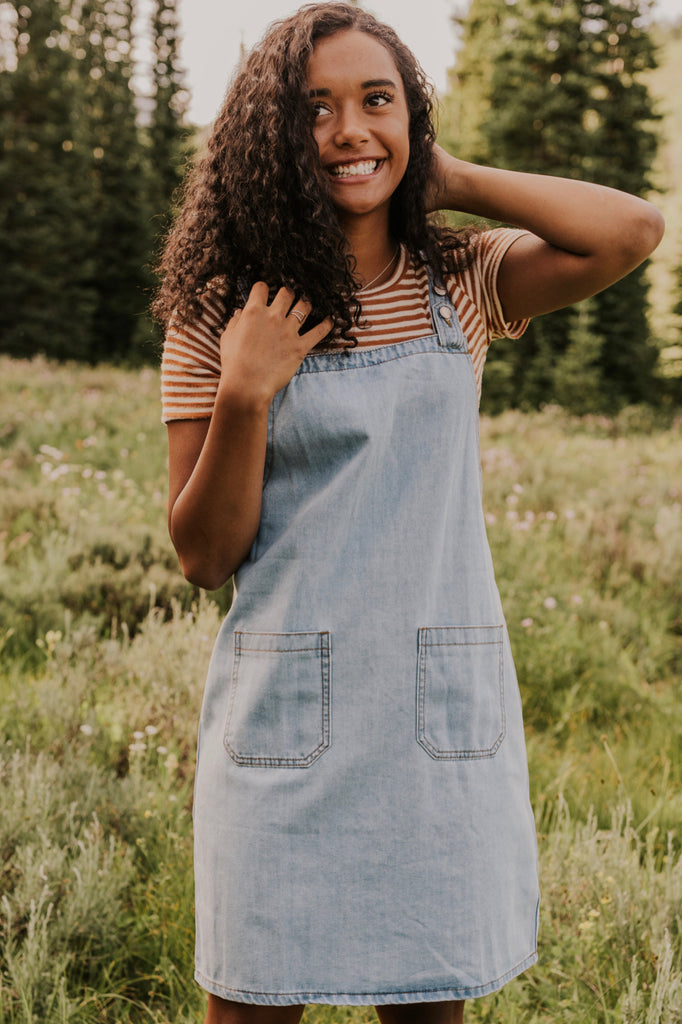 Denim Jumper Dress | ROOLEE