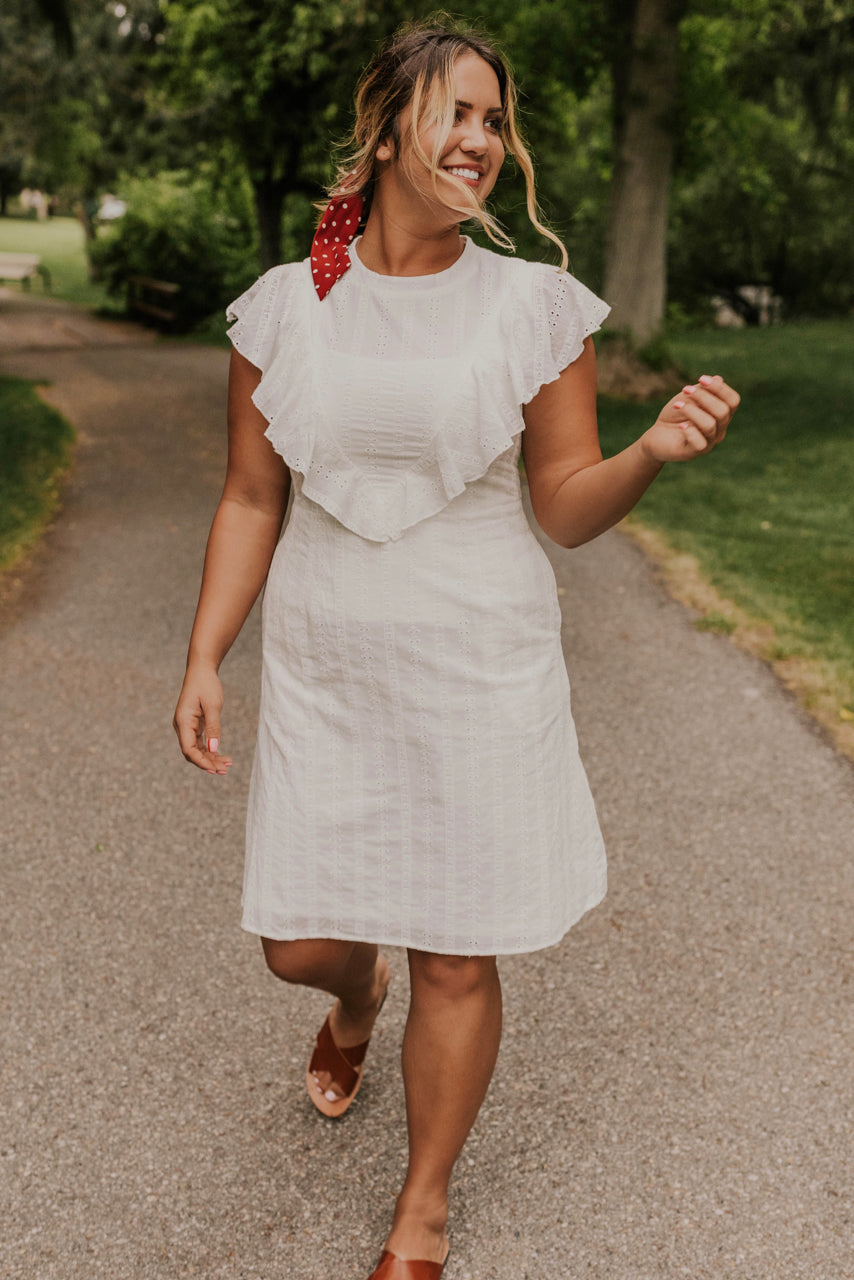 White Textured Nursing Friendly Dress | ROOLEE