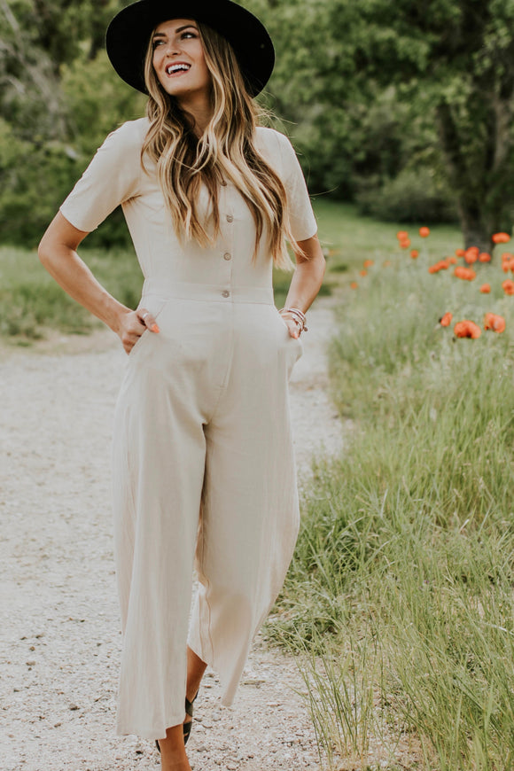 The Brooklyn Jumpsuit in Taupe | ROOLEE