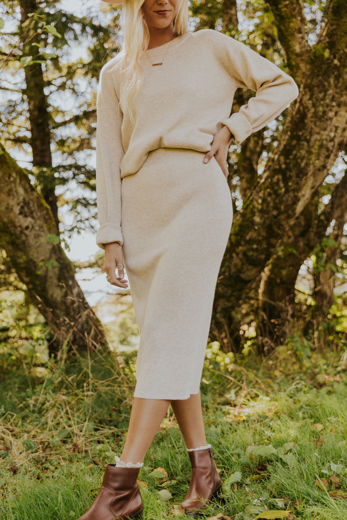 Long sleeve pencil skirt knit | ROOLEE