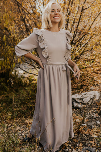 Grey Ruffle Maxi Dress | ROOLEE
