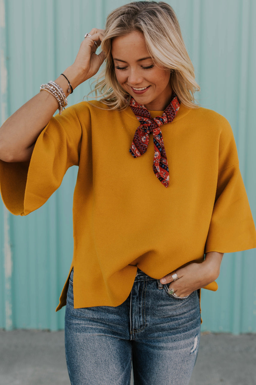 Mustard Mock Neck Holiday Top | ROOLEE
