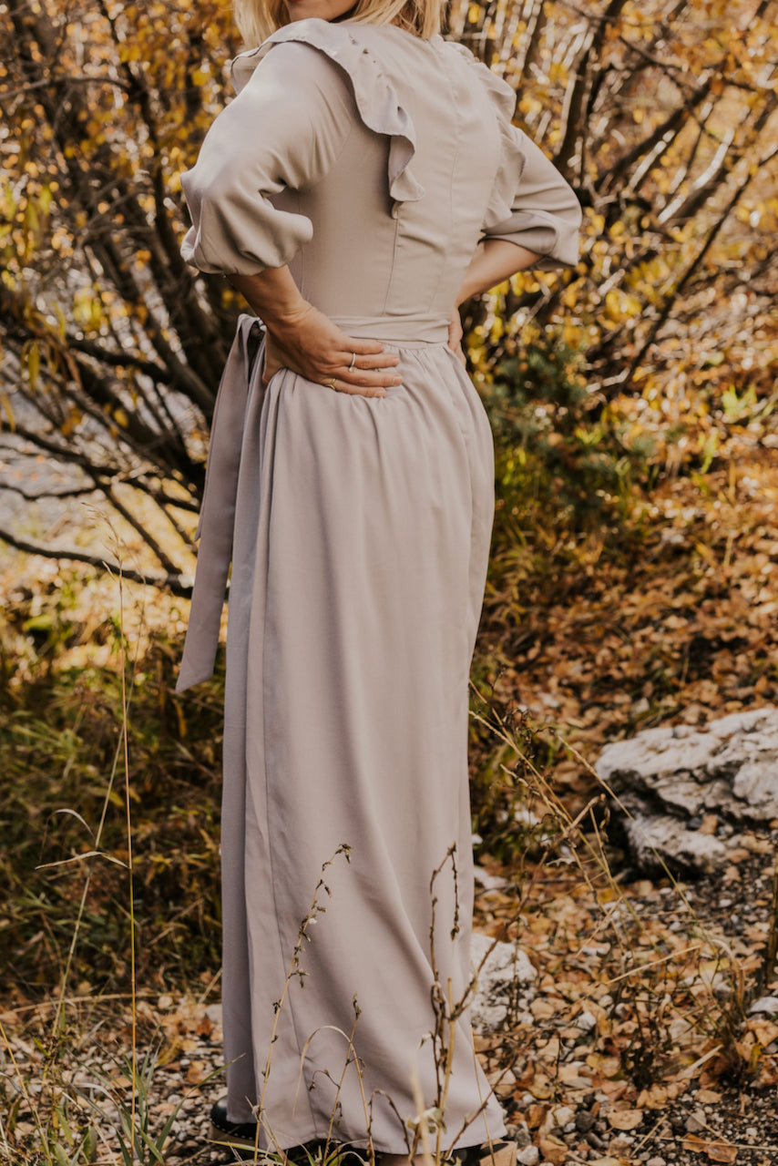 Light Grey Nursing Friendly Maxi Dress | ROOLEE