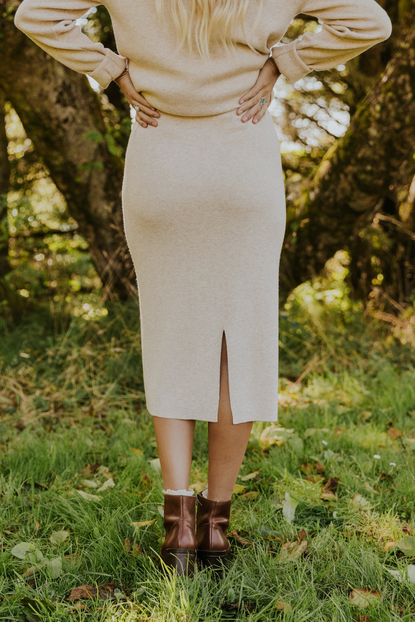 Wool knit cream skirts | ROOLEE