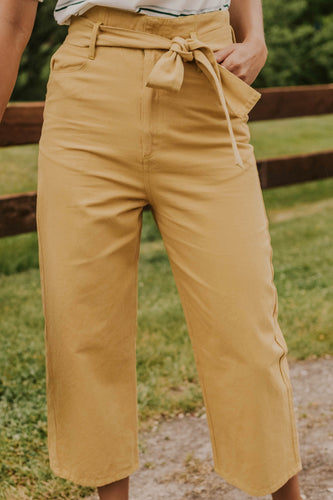 Mustard High Waist Trousers for Women | ROOLEE