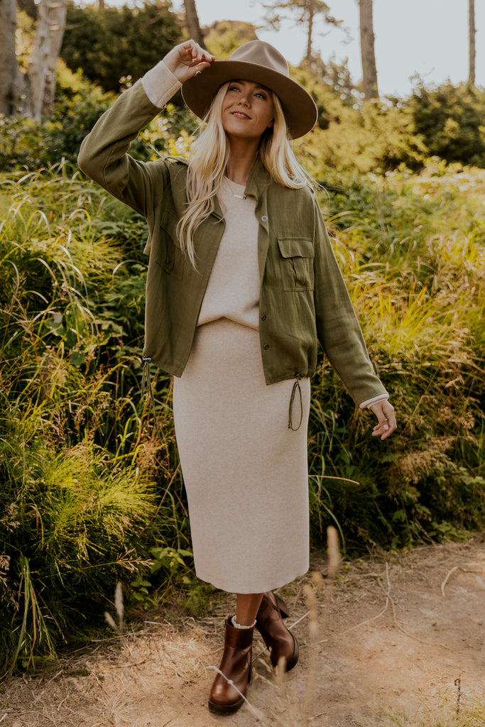 Ivory knit skirt for winter church | ROOLEE