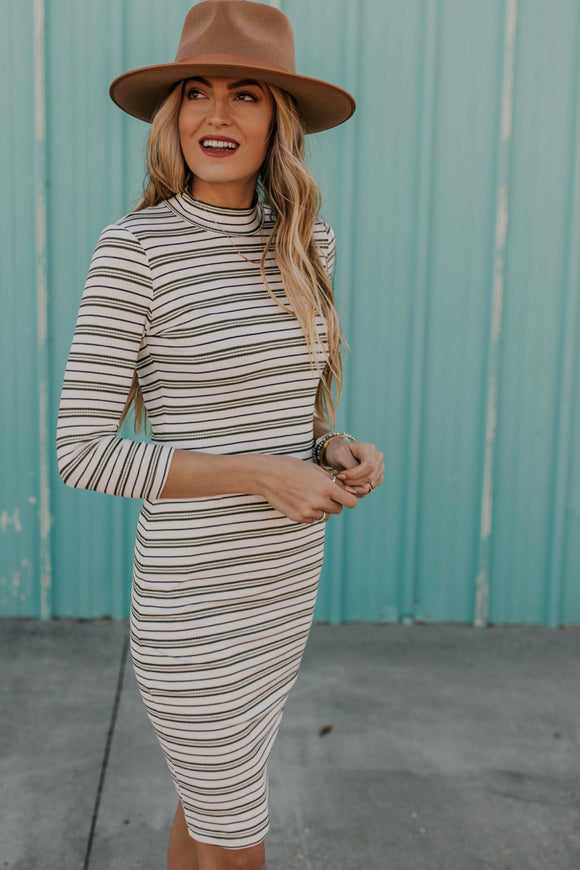 Casual Stripe Bodycon Dress | ROOLEE