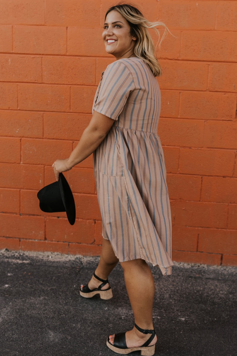 Tan and Blue Ruffle Dress | ROOLEE