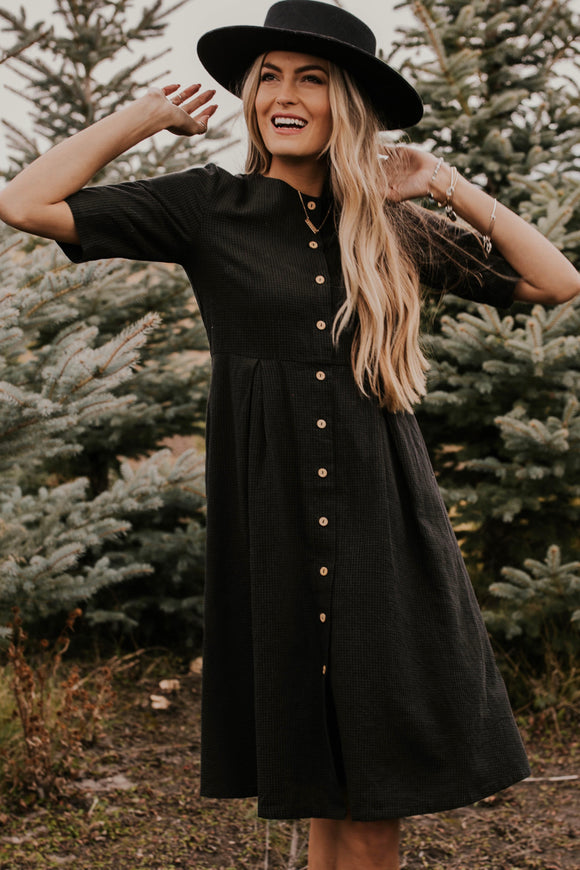 Dark Plaid Dress with Wooden Buttons | ROOLEE
